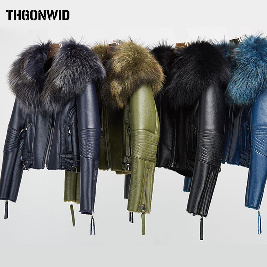 Short Shorn Sheepskin Double Faced Real Fur Coat Winter Women Sheep Sheared Coats Large Raccoon Collar Genuine Leather Jacket
