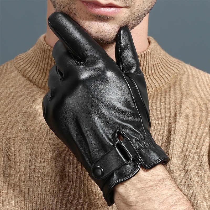 Écran tactile gants en cuir hommes en peau de mouton hiver conduite thermique chaud doigt complet noir Eldiven main gants moto bouton