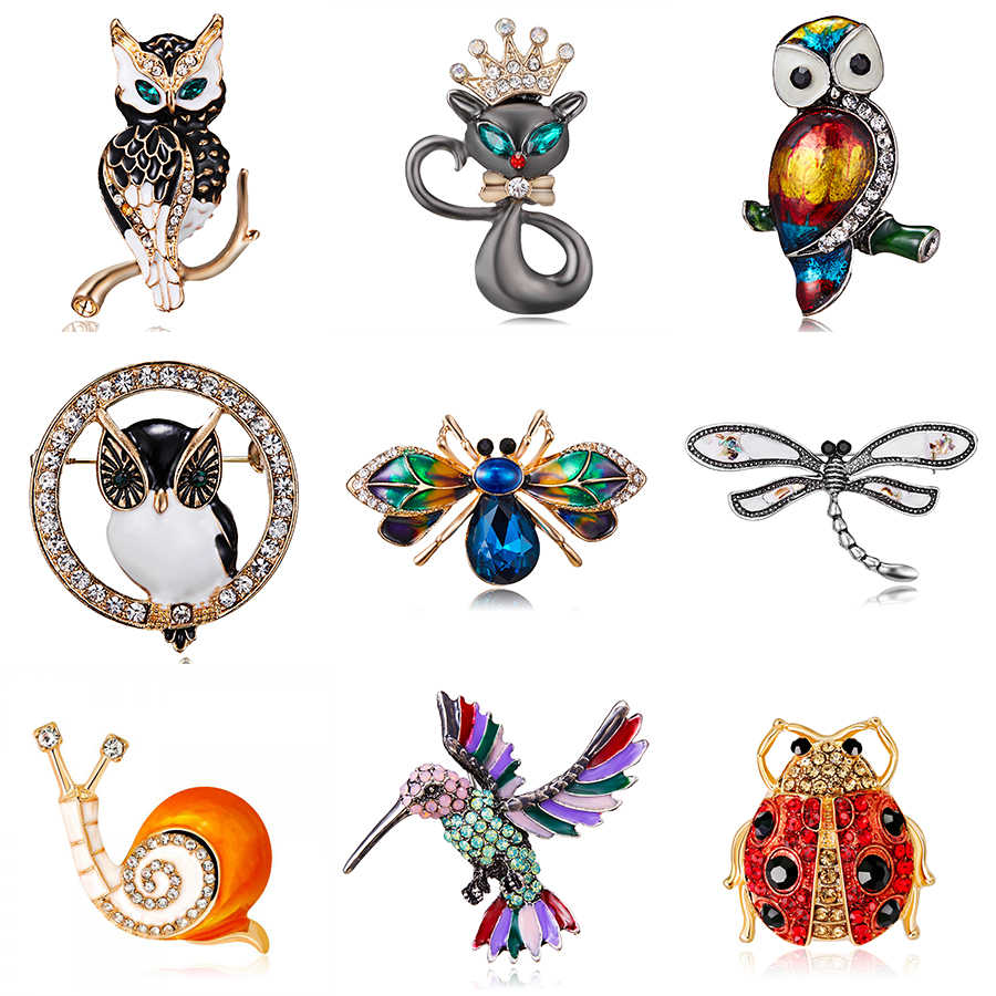 Women's Men's Owl Brooch Cat Dragonfly Birds Insect Alloy Trendy Imitation Rhinestone Brooches Badge Christmas Gifts Accessories