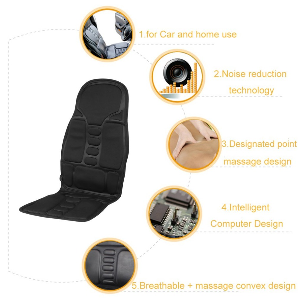 Professional Car Household Office Full Body Massage Cushion Lumbar Heat Vibration Neck Back Massage Relaxation Seat EU/US Plug