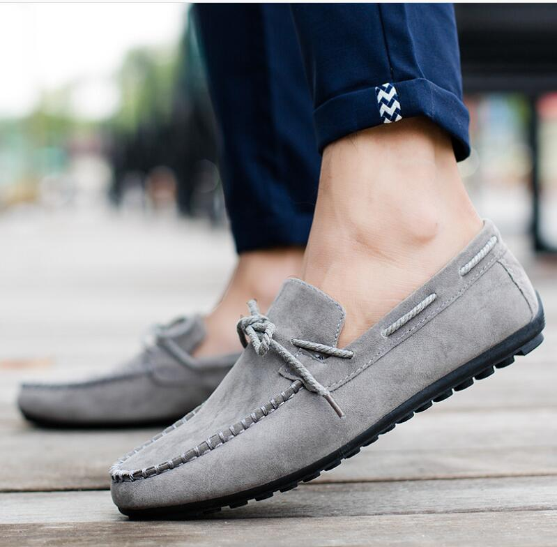 Cow   Suede     Leather   Men Flats loafers 2018 New Men Fashion Bow tie Casual Shoes High Quality Men Loafers Moccasin Driving Shoes