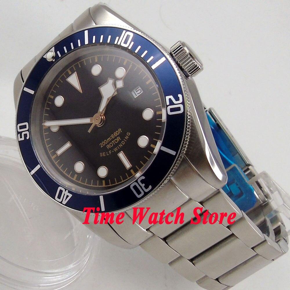 41mm Corgeut black sterial dial golden marks blue Bezel sapphire glass bracelet Automatic Men s watch