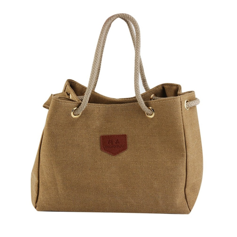 Woman Casual Handbags Rope Strap Design Large Capacity Hemp Cloth Shopping Bag Canvas Bag Durable Single Shoulder Bag