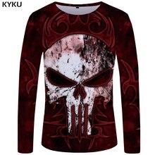 KYKU Skull T shirt Men Long sleeve Punisher Rock Red 3d T-shirt Hip Hop Streetwear Japan Anime Mens Clothing New