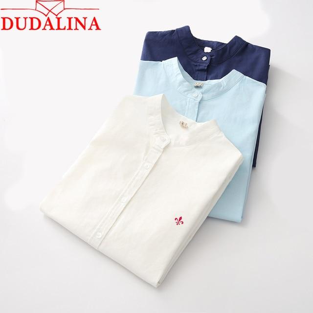 Dudalina вышивкой Женские рубашки новый Для женщин Мода Повседневная рубашка элегантный длинный рукав тонкий женская блузка офисная одежда Размеры 3XL