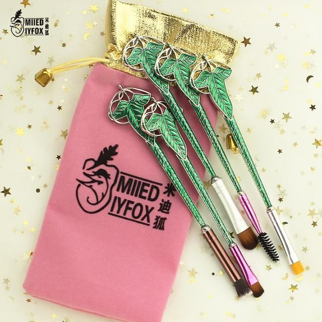 Livraison gratuite Elf Vert feuille maquillage/Cosmétique brosse Coloré  bijoux Professionnel Make up Outils kit