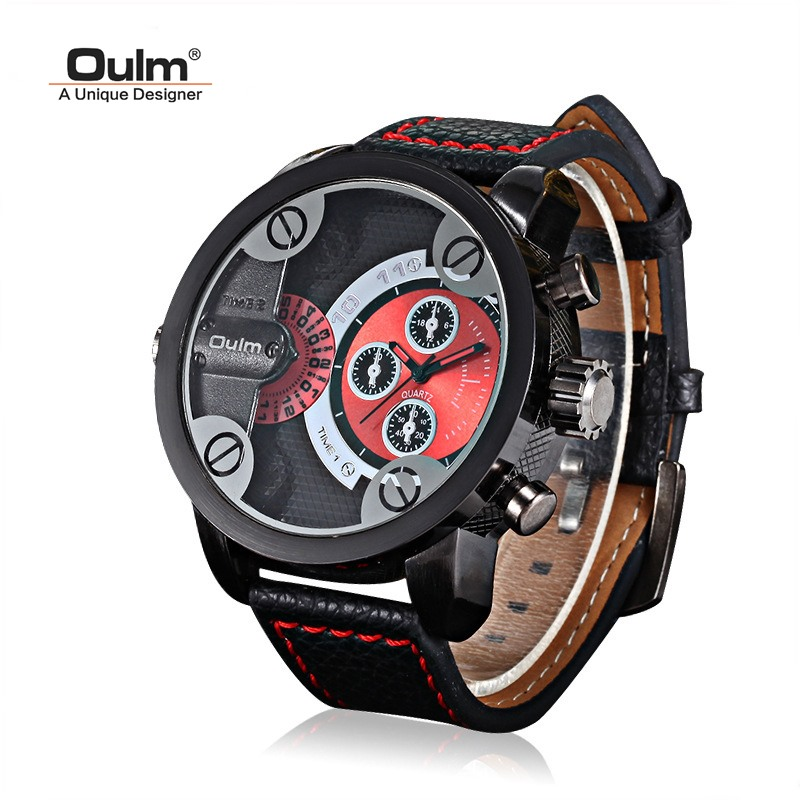 TEAROKE Oulm Men's Watch Quartz Clock Male Watch Military Wrist Watch Top Luxury Brand Watches Men Leather Strap Big Dial big size dial plate fashion men s quartz leather watch wrist strap watches 8 type optional top quality