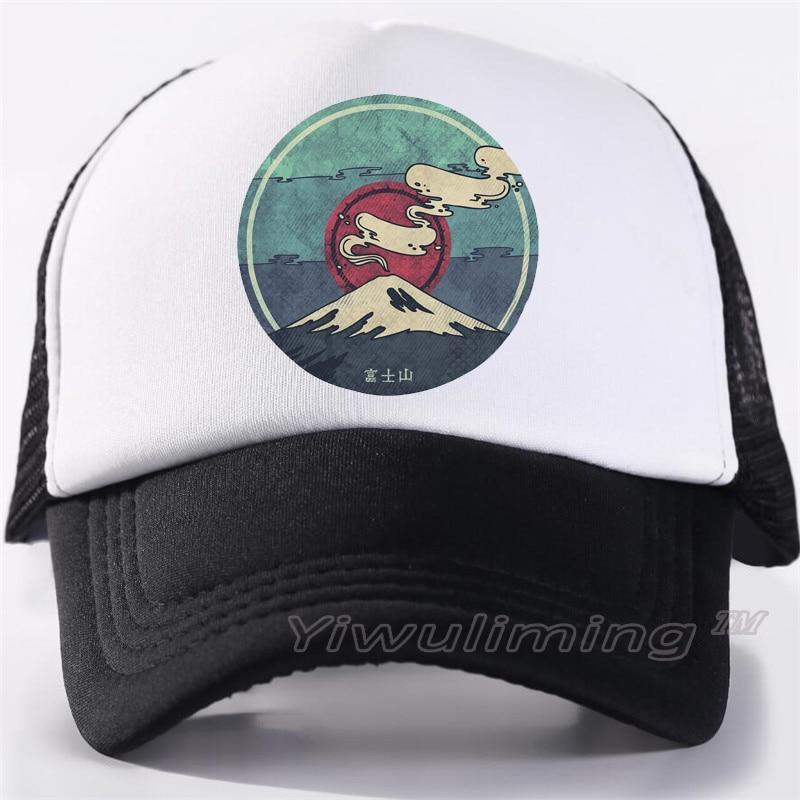New Summer Trucker Caps Fujiyama Cool Summer Black Adult Cool Baseball Mesh Net Trucker Caps Hat For Men Adjustable