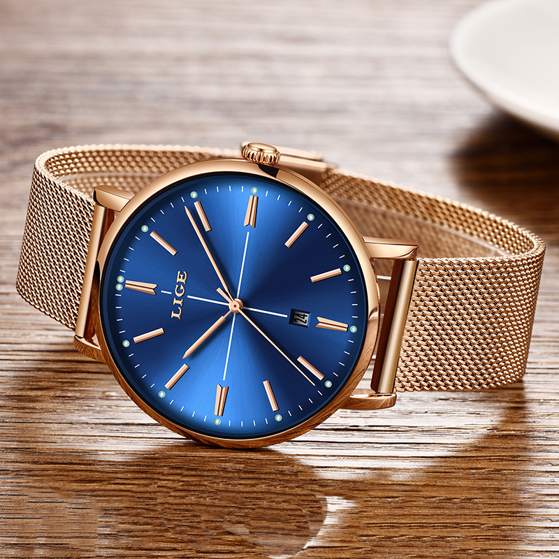 2019 LIGE New Rose Gold Blue Table Womens Business Quartz Watch Ladies Brand Top Luxury Ladies Watch Girl Clock Relogio Feminino