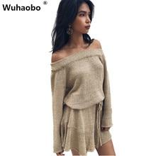 Wuhaobo осень модные, пикантные с открытыми плечами Повседневное Для женщин Вязание платье Ленты облегающее платье дамы свободные Платья-свитеры Vestidos