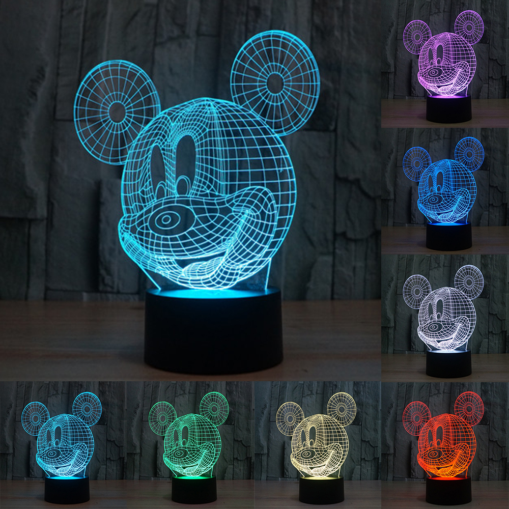 New 3D <font><b>Table</b></font> Lamp Creative Acrylic Mickey Mouse LED Night Light Colorful Atmosphere Decoration <font><b>Table</b></font> Lamp for Children IY803325
