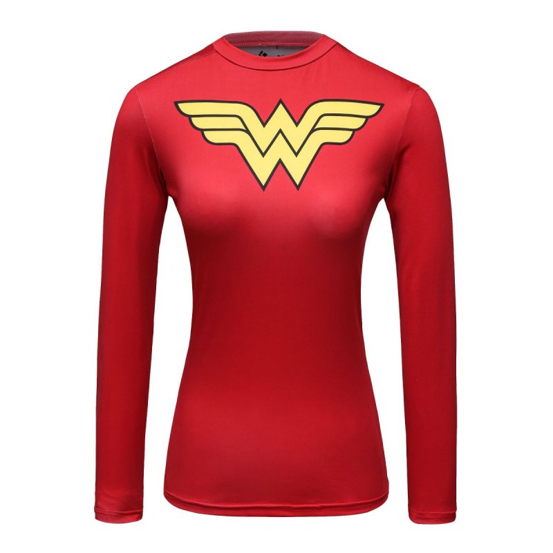 Red Plume Womans Movie Theme Print American Amazing Hero Running Sport Fitness T-shirt Exercise Tights Longsleeve Top