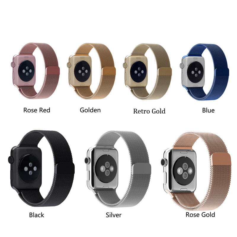 11 Color Magnetic Milanese Loop Band & Link Bracelet Stainless Steel Strap for Apple Watch 42mm 38mm Watchband