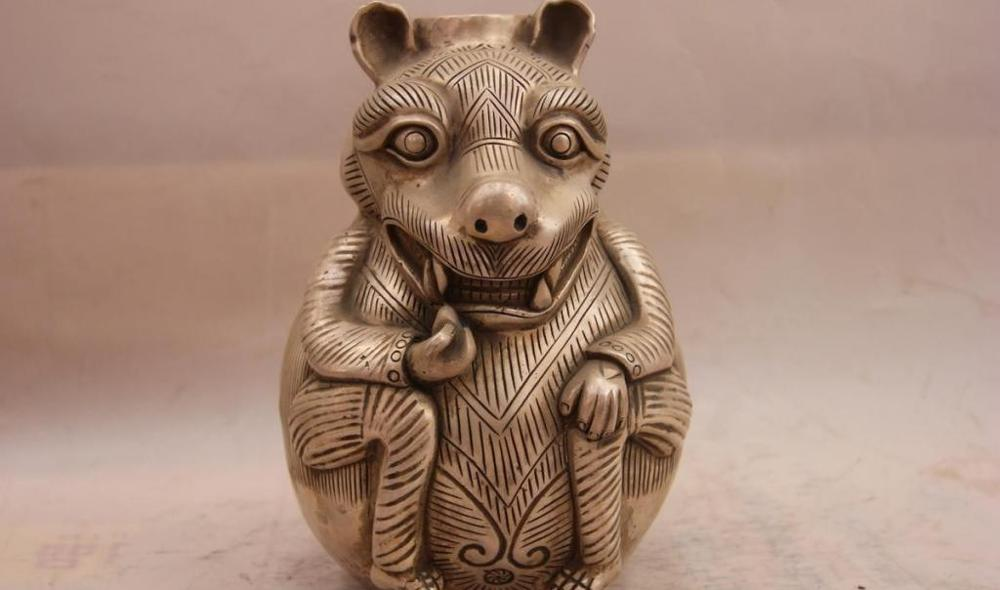 China White Copper Silver Carved Fine Lucky Animal Beast Statue Pot