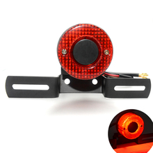 Universal DC 12V Motorcycle Red Lens LED Tail License Plate Rear Light Round For Harley Chopper Custom Bobber mt 07 mt09 harley  free shipping round side mount tail light license plate bracket chopper bobber for harley custom