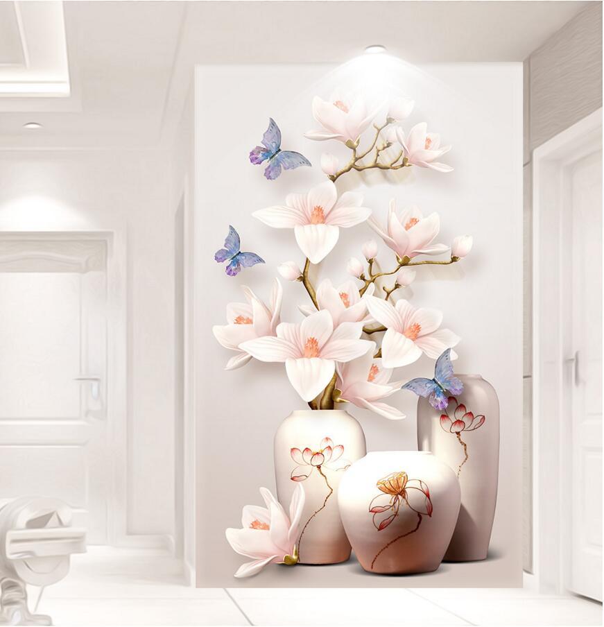 US $22 73 OFF HD Kustom Foto 3D Wallpaper Bunga Mural Bunga Pintu Masuk Lorong 3D Wallpaper Dinding Kertas Dekorasi Rumah Dapur Ruang Tamu Photo