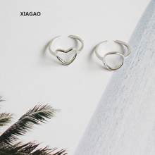 XIAGAO 925 Sterling Silver Open Rings Two Shape Simple Cross Ring Jewelry for Party Adjustable CNR104