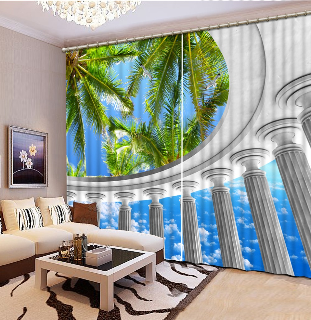 beach curtains Landscape Scenery Beauty Digital Photo Printing Blackout 3D Curtains for Living Room Bedding Room Hotel Drapes Co