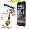 0.3mm 9 h vidrio templado para el iphone 4s 5 5s 6 6 s más cubierta de la caja frontal protector de la película protectora de pantalla + kits de limpieza