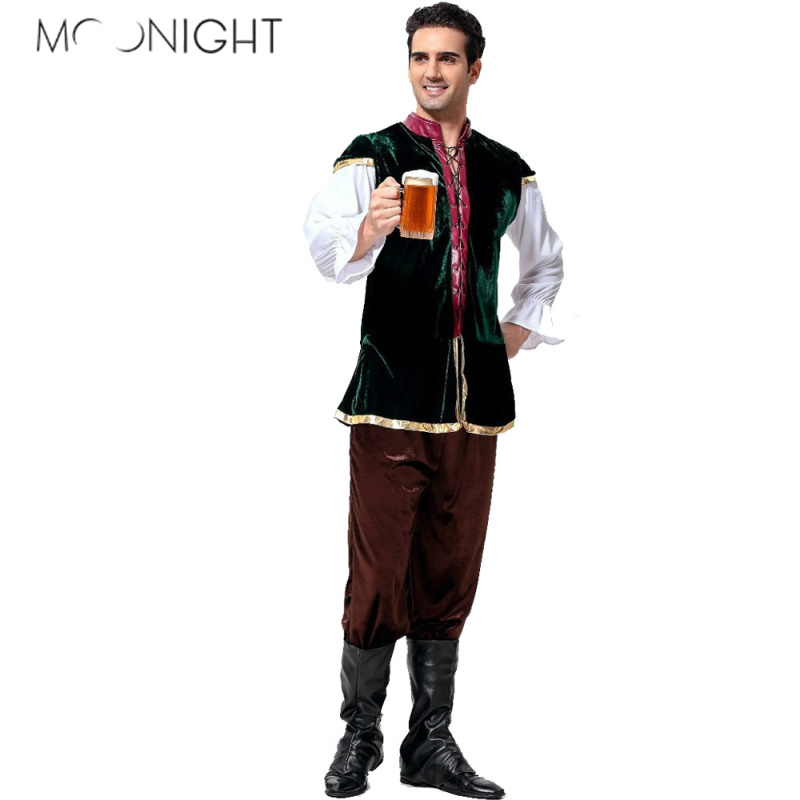 MOONIGHT Oktoberfest Costume Bavarian German Beer Men Festival Beer Cosplay Halloween For Men