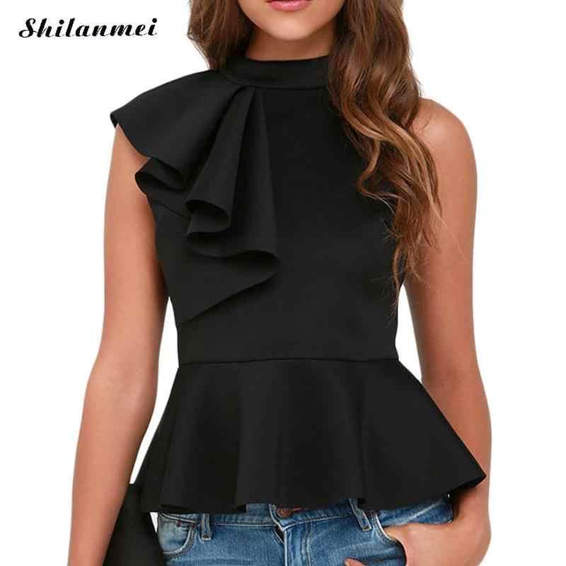 1658795a1c6567 Blusas Femininas 2018 Summer Ruffle Blouses Women Sleeveless Solid Blouses  Slim Fit Vest Peplum Top Shirts