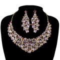 Atacado de Casamento nupcial Conjuntos de Jóias rosa cristal cúbico pedra Australiano Mulheres Colar brincos set Elegante conjunto de jóias