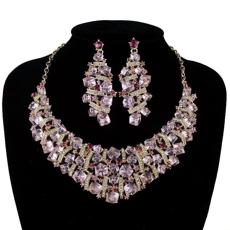 Wholesale bridal wedding jewelry sets pink cubic crystal for Pink wedding jewelry sets