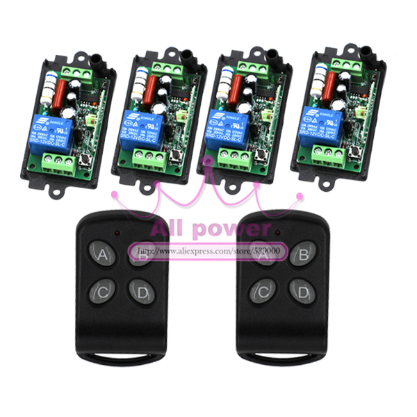 CCTV 110V 220V 1CH Wireless Power Switch System 4 Receiver 2 Remote Controller 315MHZ/433MZH wireless pager system 433 92mhz wireless restaurant table buzzer with monitor and watch receiver 3 display 42 call button