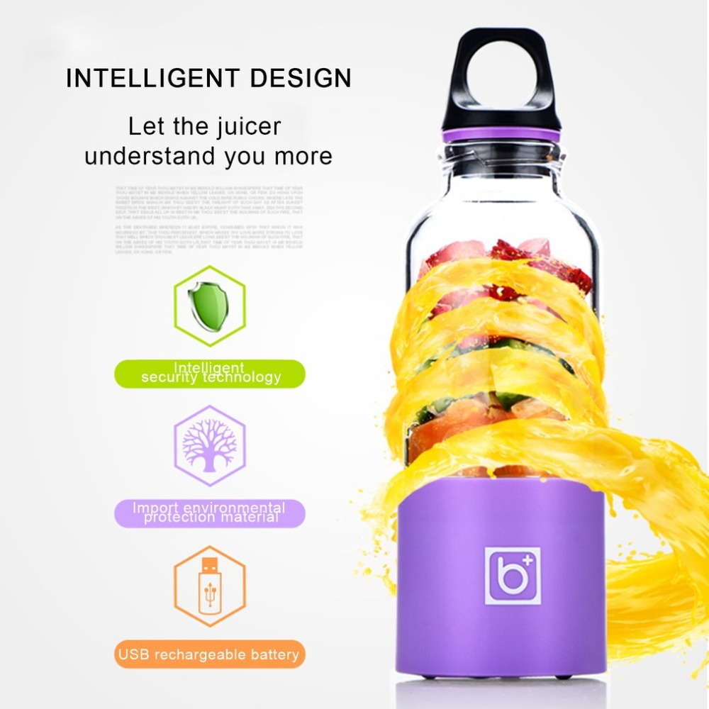 Colorful 500ML Electric Juicer Cup USB Rechargeable Automatic Vegetables Fruit Juice Maker Bottle Extractor Blender Mixer