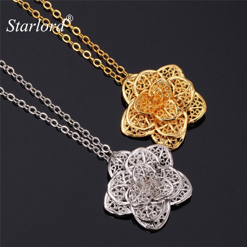 2797ae776560 Starlord marca Juegos de joyería flora color oro delicado Rosa flor  Pendientes Collar para mujeres regalo de boda pe483