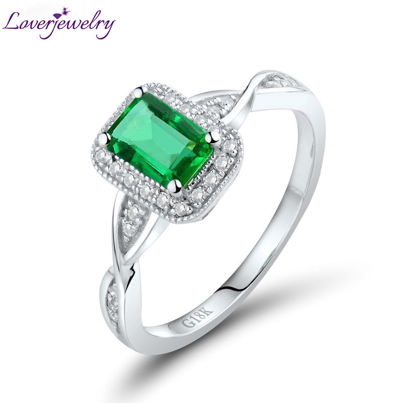 New Designs Natural Diamond Emerald Ring,Wed Emerald Ring In 18Kt White Gold For Sale WU269 new pure au750 rose gold love ring lucky cute letter ring 1 13 1 23g hot sale