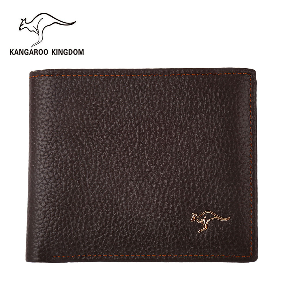 Kangaroo Kingdom Famous Brand Men Wallets Genuine Leather Short Design Purse Business Male Pocket Wallet Credit Card Holder hot sale 2015 harrms famous brand men s leather wallet with credit card holder in dollar price and free shipping