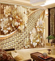 Luxury 3D Curtains Window Decoration Background 3D Curtains For Living room Bedroom Beautiful jewelry Curtains Hotel/Cafe
