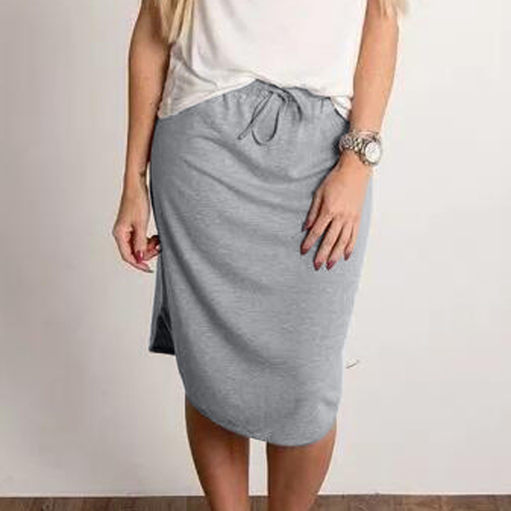 Women Cusual Pencil Skirt Drawstring Waist Knee-Length Midi Bust Skirts Summer Elegant Office Ladies Daily Skirt Femme