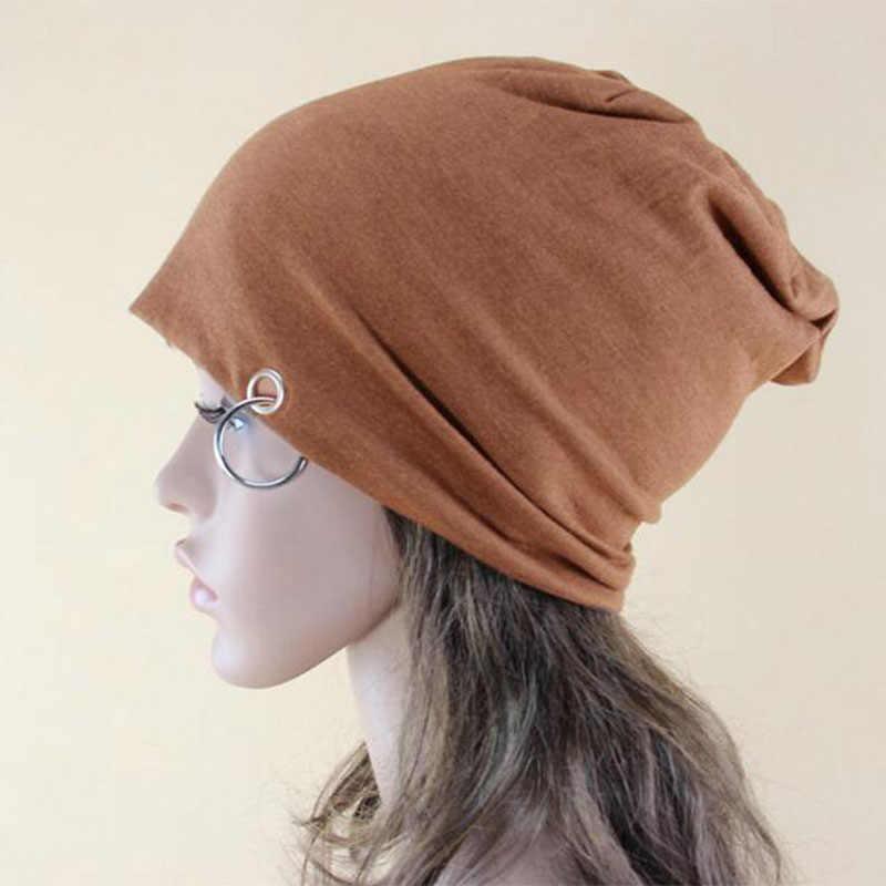 LIHFSI 2017 Fashion Iron Ring Women Hat Unisex Knitted Hat For Women Man Cap Knitting Skullies Beanies Female Caps