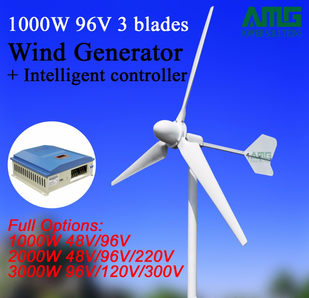 1KW/1000W 48V/96V 3 blades Horizontal Axis Small Wind Turbine Areogenerator+ Wind Charger Controller