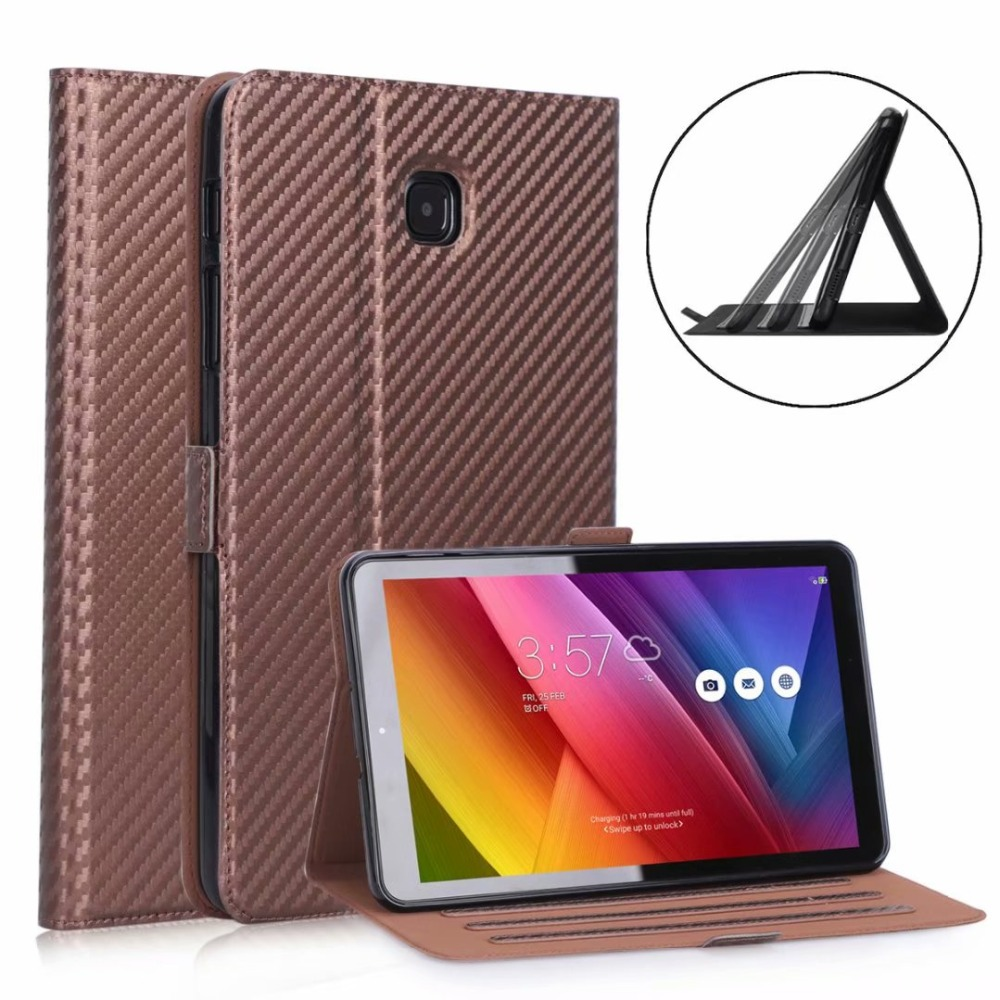 T387 8.0 Carbon Fiber Pattern Tablet Adjustable Stand Case Cover For Samsung Galaxy Tab A 8.0 T387 SM-T387 8.0 Inch 2018+Pen