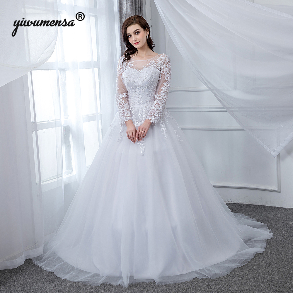 Vestido De Noiva Sereia Illusion Long Sleeves Wedding Dress 2019 Pearls Appliques Puffy Tulle Ball Gown Wedding Dresses Marriage