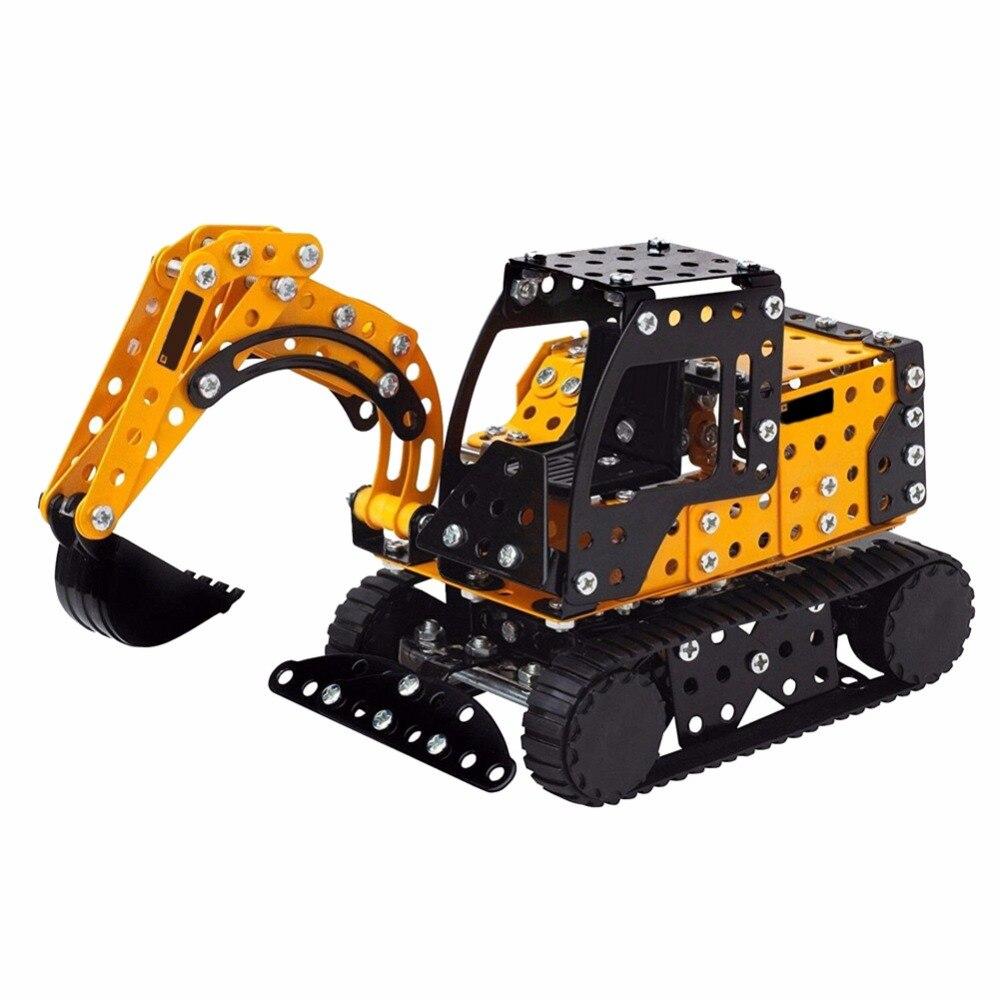 New DIY Metal Excavator Car Set Kids Construction Model Kit Educational Assemble DIY Toy  2018  Hobbies Gift For Children Adult