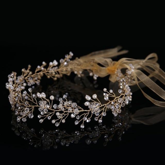Luxury Handmade Crystal Bead Pearl Women Tiara Hairbands Elegant Hairbands Engagement&Wedding Accessories CY161117-90