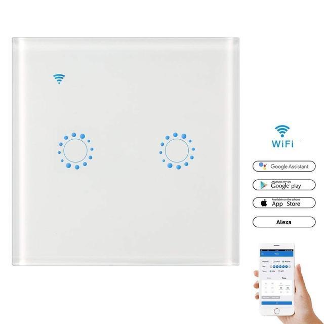 HyletonWiFi الذكية جدار مفتاح الإضاءة الزجاج لوحة اللمس اللاسلكية التحكم عن بعد بواسطة تطبيق جوال 1/2/3 عصابة ل الذكية أتمتة المنزل