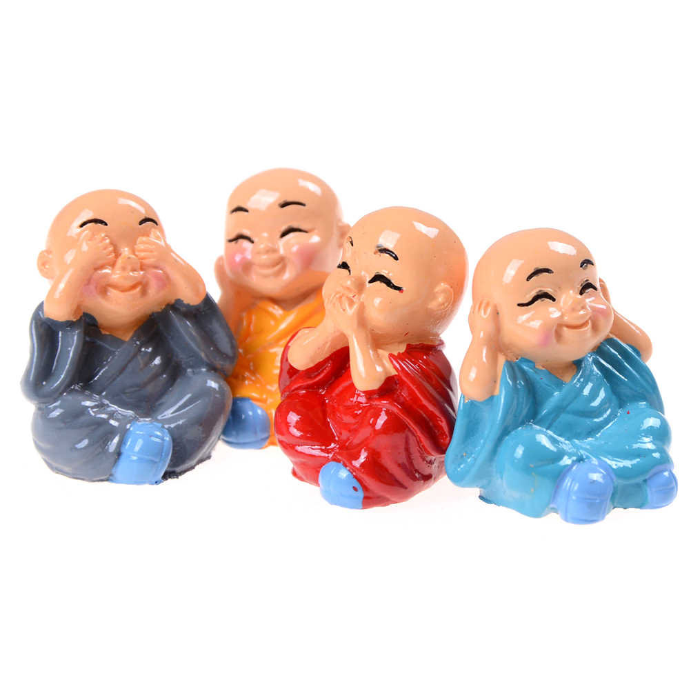 Hohe Qualität 1Pcs Schöne Harz Hause Auto Innen Zubehör Puppe Maitreya geschenke little mönche Buddha Kung Fu Kleine Ornamente