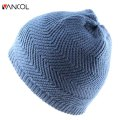 Brand Blue Unisex Womens Fall Ribbed Skullies Beanie Water Ripple Bonnet Homme Hiver Cap Winter Warm Knit Vogue Sports Beret Men