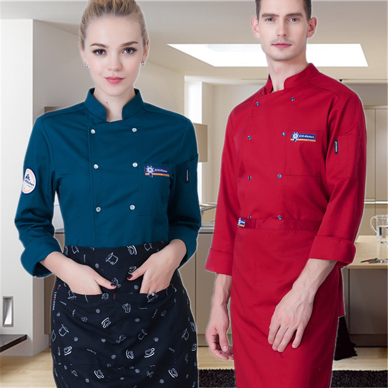 Hotel Long Sleeved Cotton Clothing For Men And Women Kitchen Workwear Overall White Chef Jacket Uniforms  Restaurantes J002