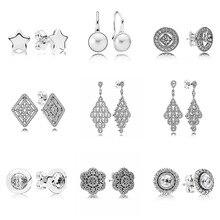 29018a9fabe1 Líneas geométricas de Glamour Vintage en cascada con pendientes de plata de ley  925 de cristal para mujer joyería europea