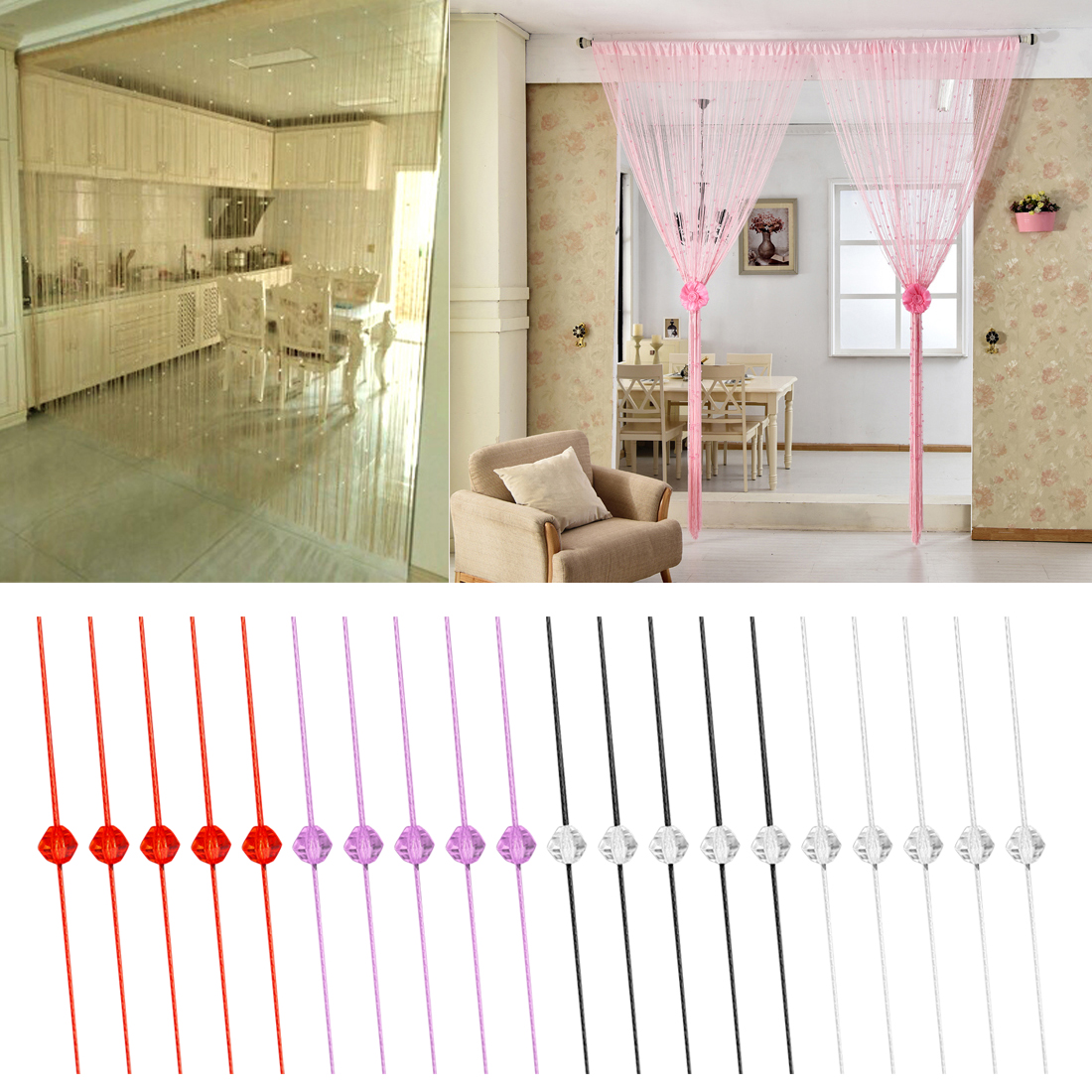 Us 6 27 5 Off Home Decorative String Crystal Curtain Moden Colorful Line Curtain Window Blind Vanlance Room Divider Sheer In Blinds Shades