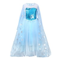 Baby Kid Girls Dress Sequin Snowflake Princess Cosplay Party Queen Fancy Costume Baby Girls Halloween Snow Queen Cosplay Dresses