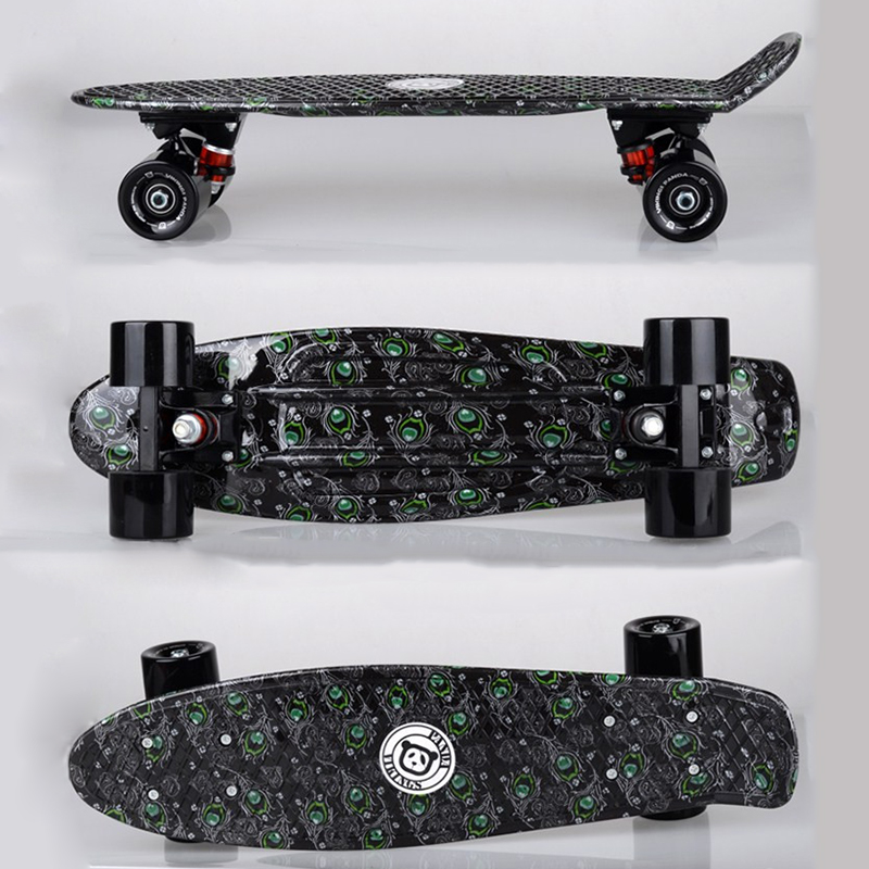 Black Fish Board Mini Cruiser Skateboard Single Long Board Children Warped Road Skate Longboard Scooter 4 Wheel Skates PN12