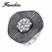 ¡Oferta! Anillos de cristal FAMSHIN 2018, anillo de flores a la moda con carácter, anillo de circonita CZ para mujer, joyería Retro, regalo de Navidad 2018 nuevo