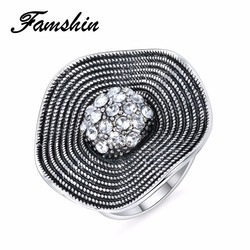 FAMSHIN Hot Sale Crystal Rings 2018 Temperament Fashion Flower Ring Women CZ Zircon Ring Retro Jewelry Christmas Gift 2018 NEW